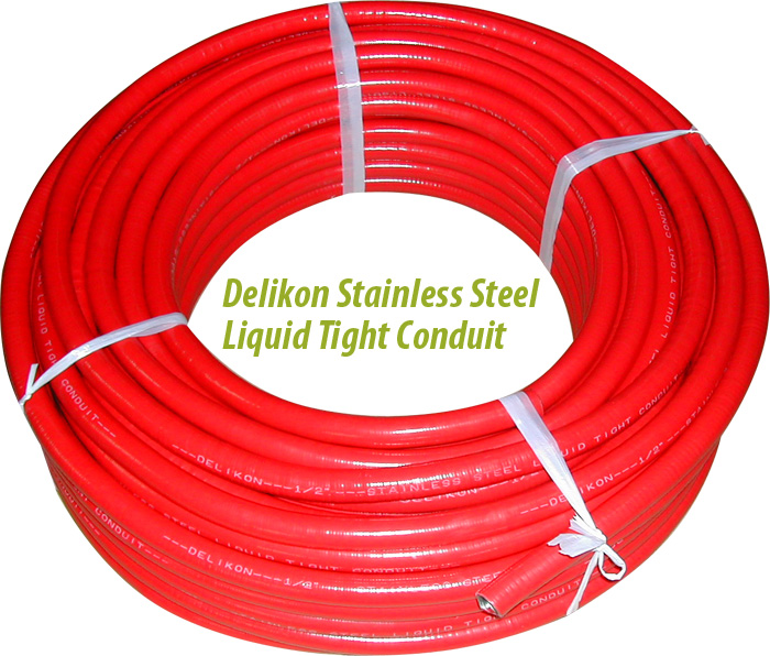 Delikon Stainless Steel Red Liquid Tight Conduit
