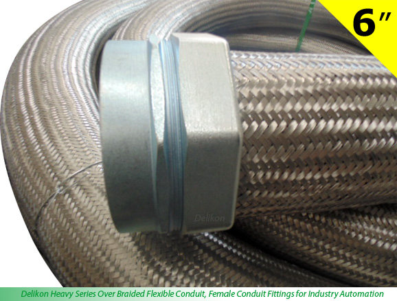 Delikon Heavy Series Over Braided Flexible Conduit, Female Conduit Fittings for Industry Automation